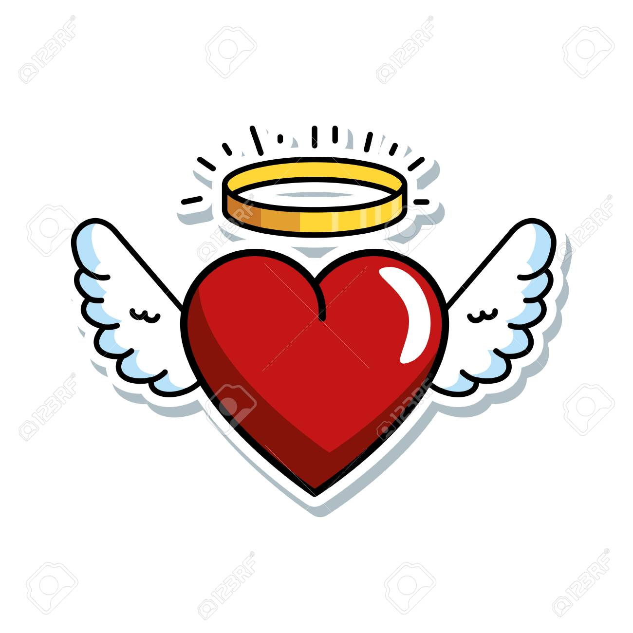cute heart with wings and halo vector illustration design - 90190523