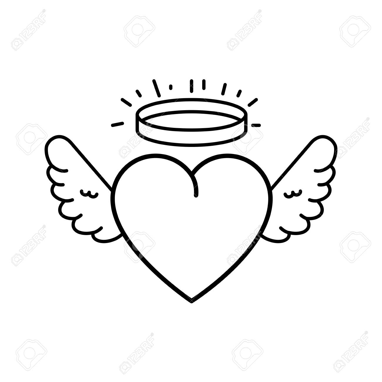 Cute Heart With Wings And Halo Vector Illustration Design Royalty