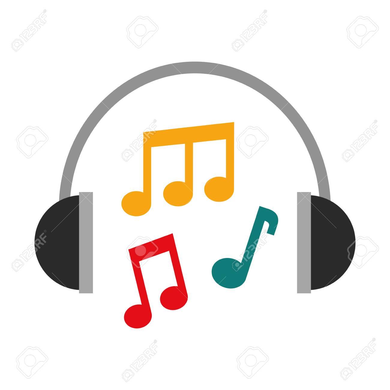 headphones note music sound harmony vector illustration - 90294524