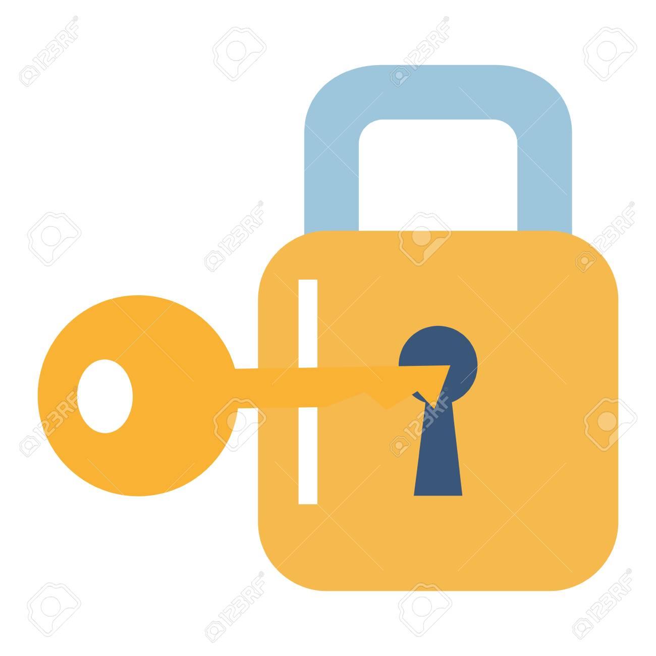 Safe secure padlock with key vector illustration design - 90373026