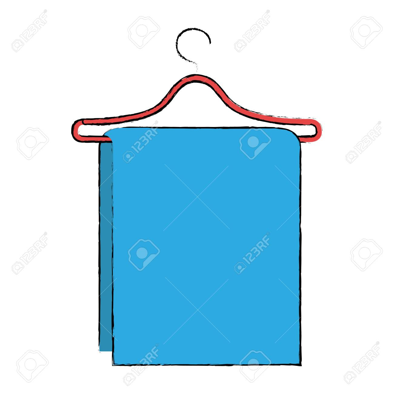 Towel Hanging In Wire Hook Vector Illustration Design Royalty Free ...