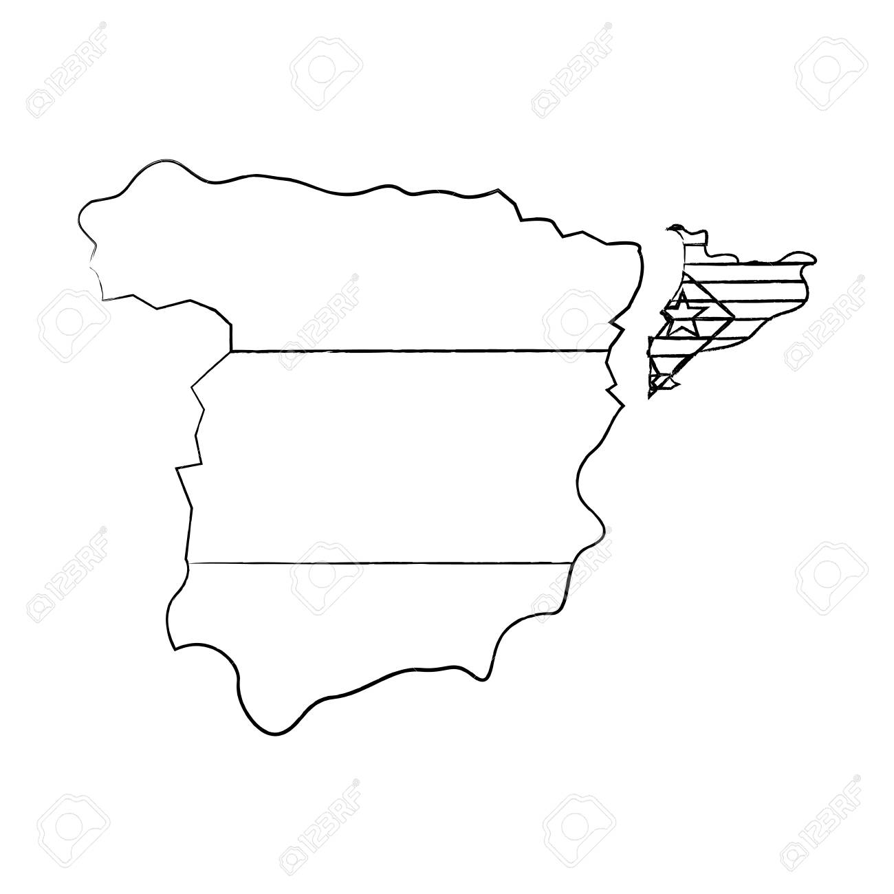 catalunya flag and country outline separated from spain icon Mexico Country Outline catalunya flag and country outline separated from spain icon image vector illustration design stock vector
