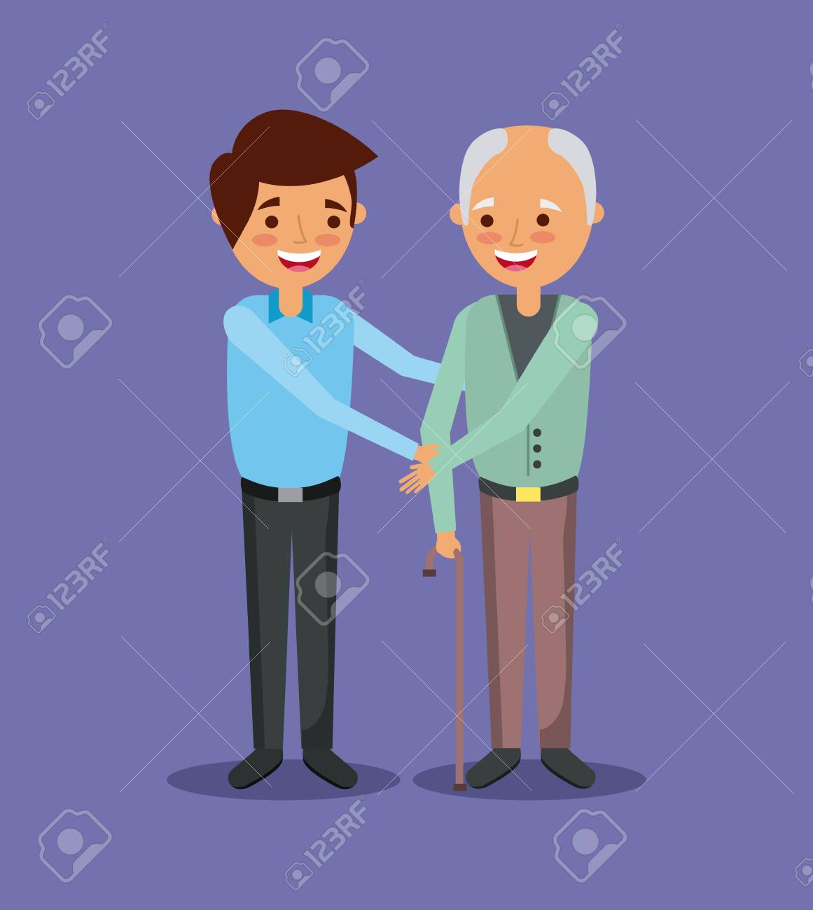 young man with old man holding hand help together vector illustration - 90419336