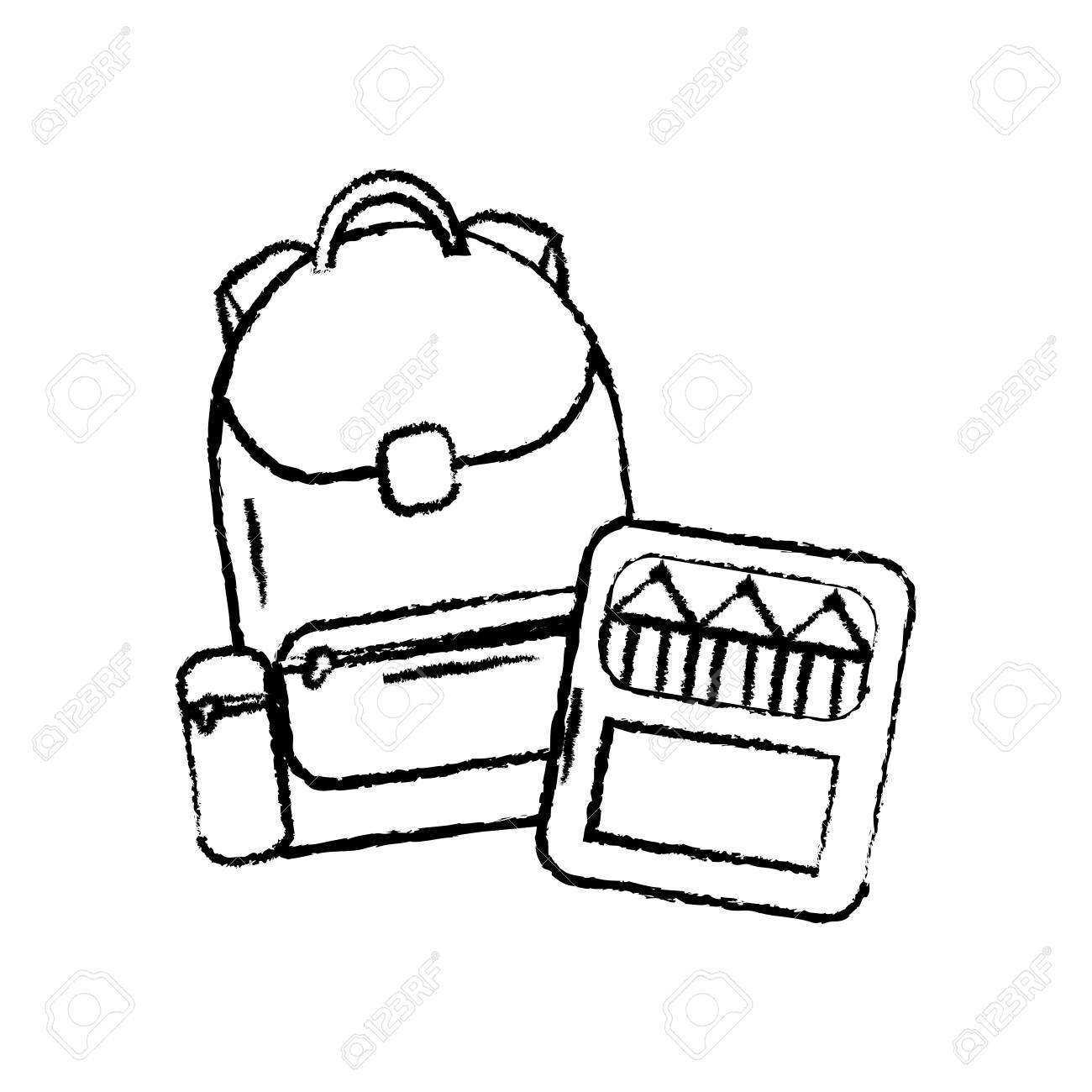 Backpack With School Supplies Icon Image Vector Illustration