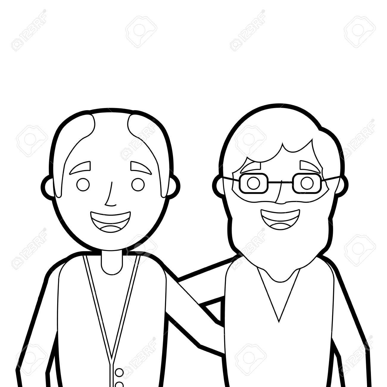Dibujos Animados De Retrato De Dos Viejos Hombres Abrazaron A Amigos Juntos Vector Ilustración Ilustración Vectorial Esquema