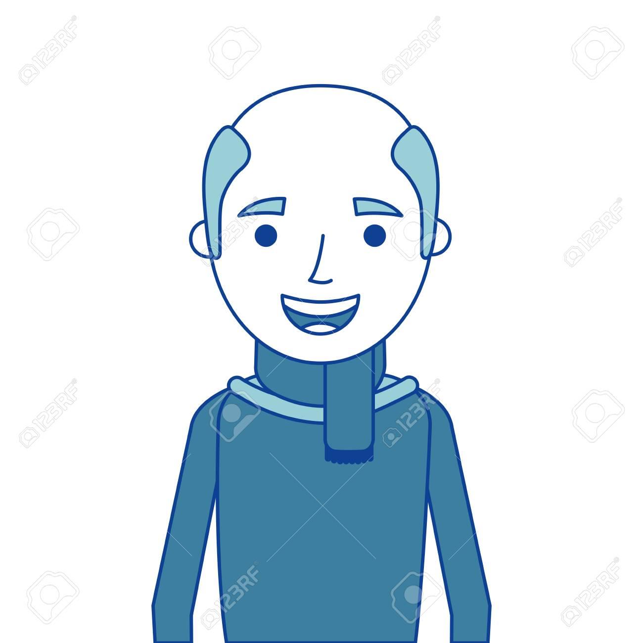 41e91745e old man portrait of a pensioner grandfather character blue vector..