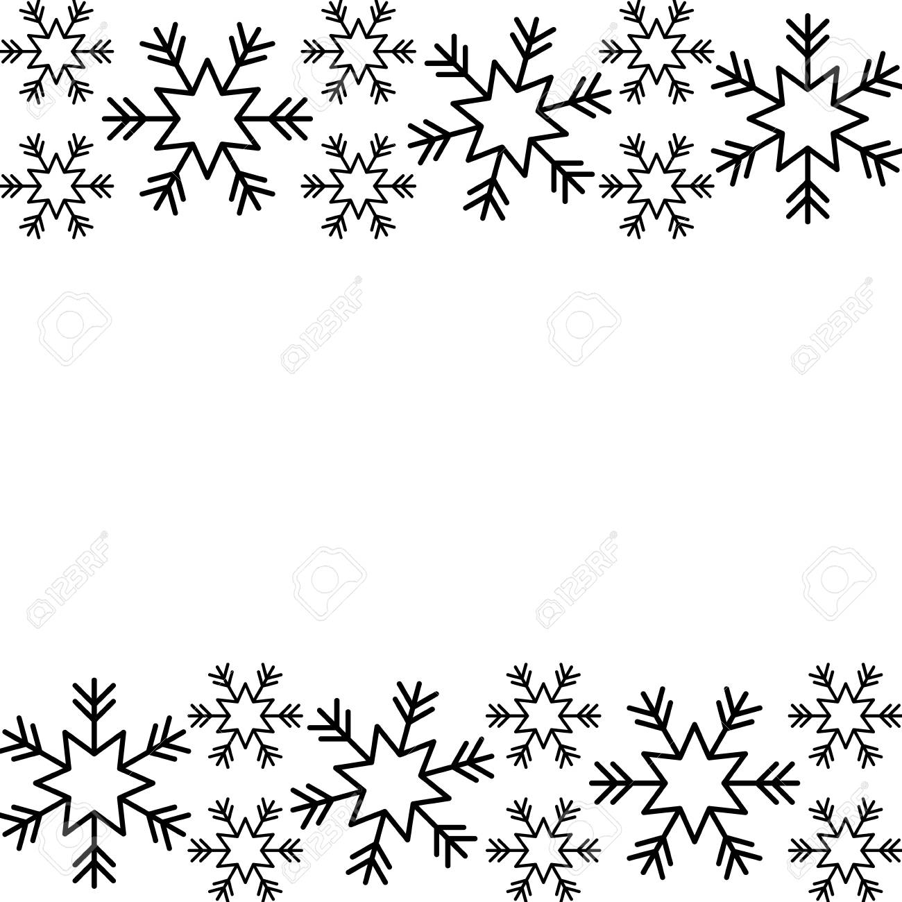 Christmas Border Black And White.Christmas Border Snowflake Winter Design Background Vector Illustration