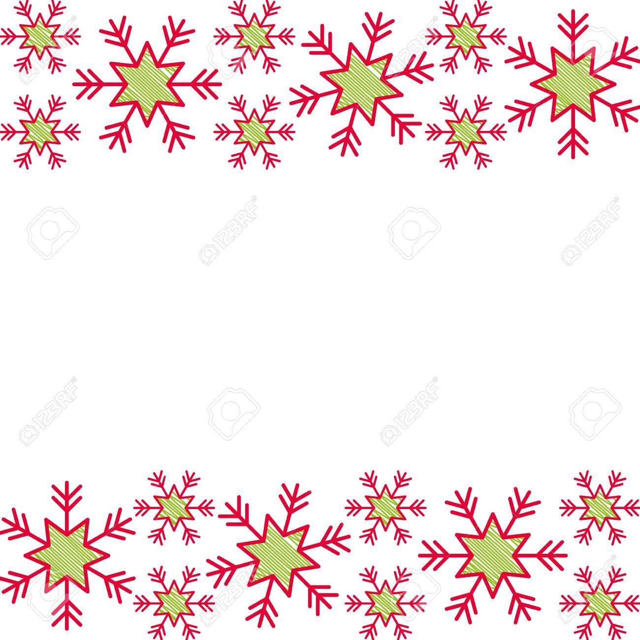 Christmas Border Design.Christmas Border Snowflake Winter Design Background Vector Illustration