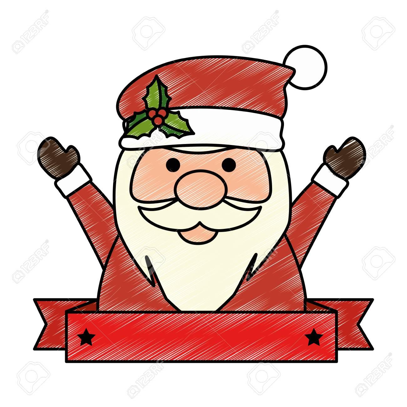 Mignon Père Noël Kawaii Caractère Vecteur Illustration Conception