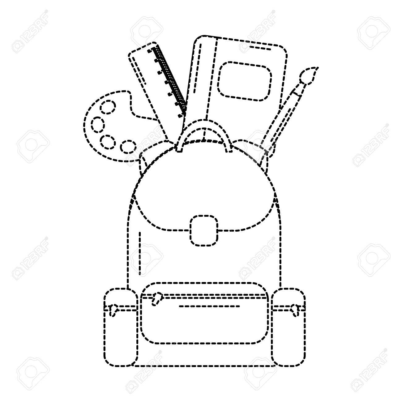 Mochila Con La Educación De Los útiles Escolares Ilustración Vectorial