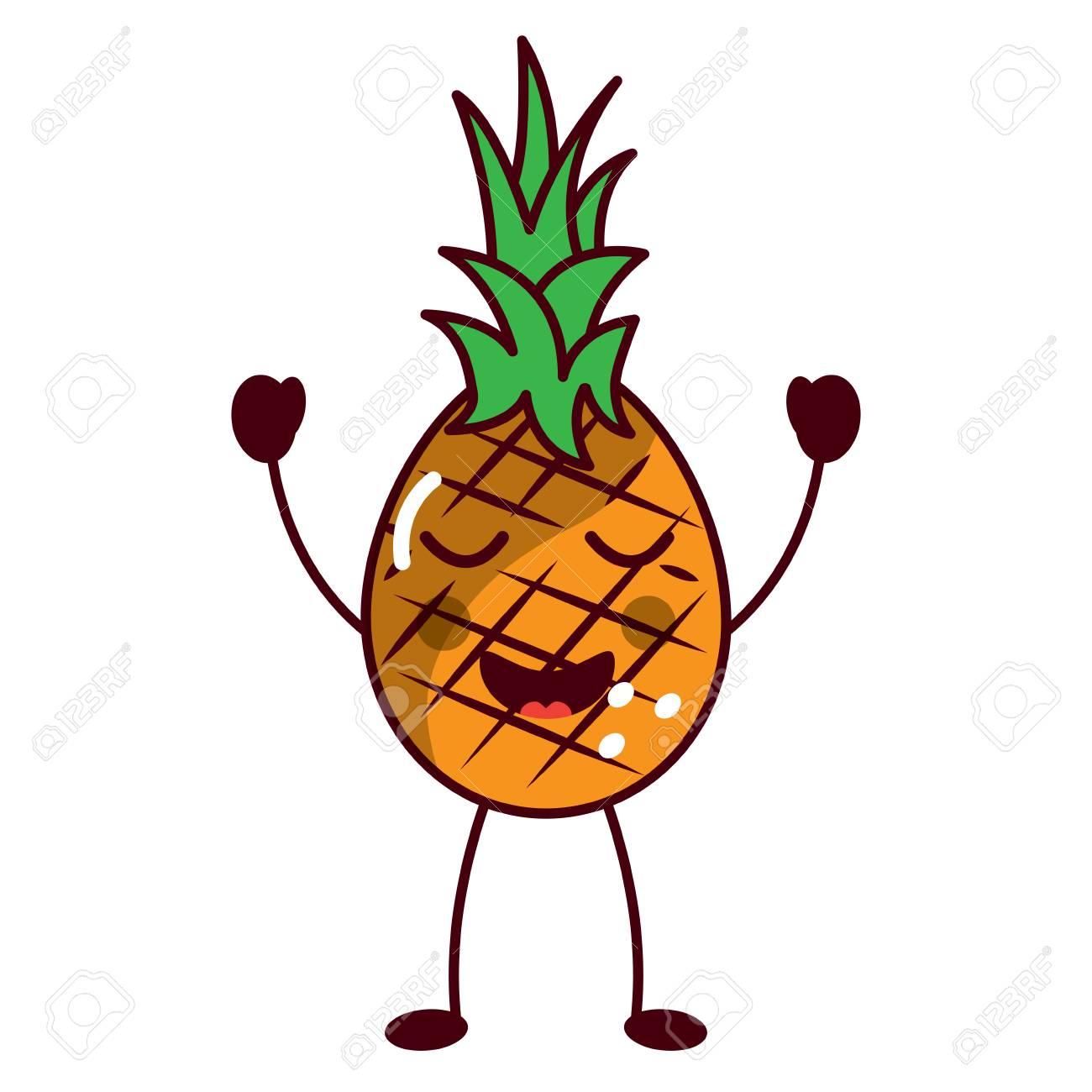 Pinapple Happy Bliss Fruit Kawaii Icon Image Vector Illustration