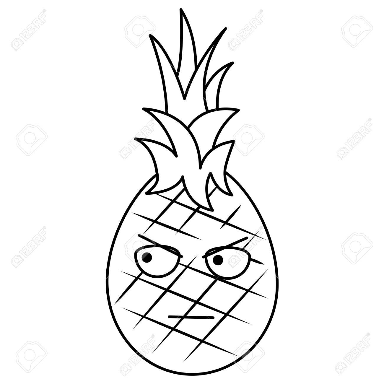 Kawaii Ananas Fruit Expression Facial Dessin Animé Vecteur Illustration