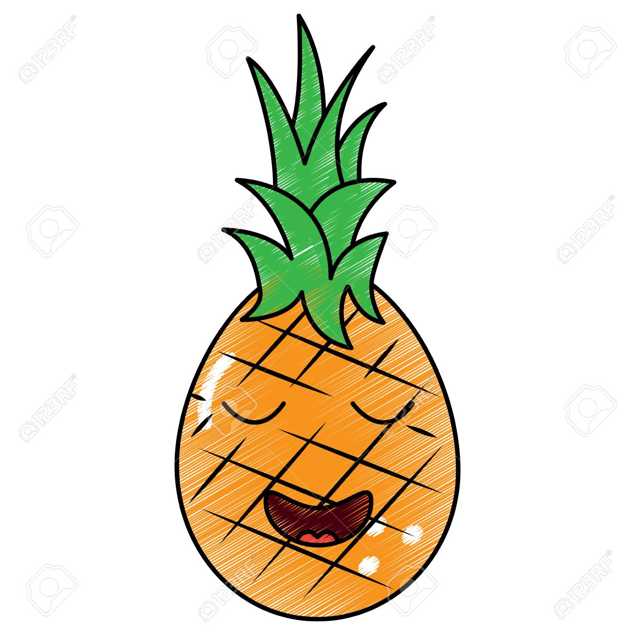 Fruit Dessin fruit d'ananas kawaii, illustration de vecteur de dessin animé clip