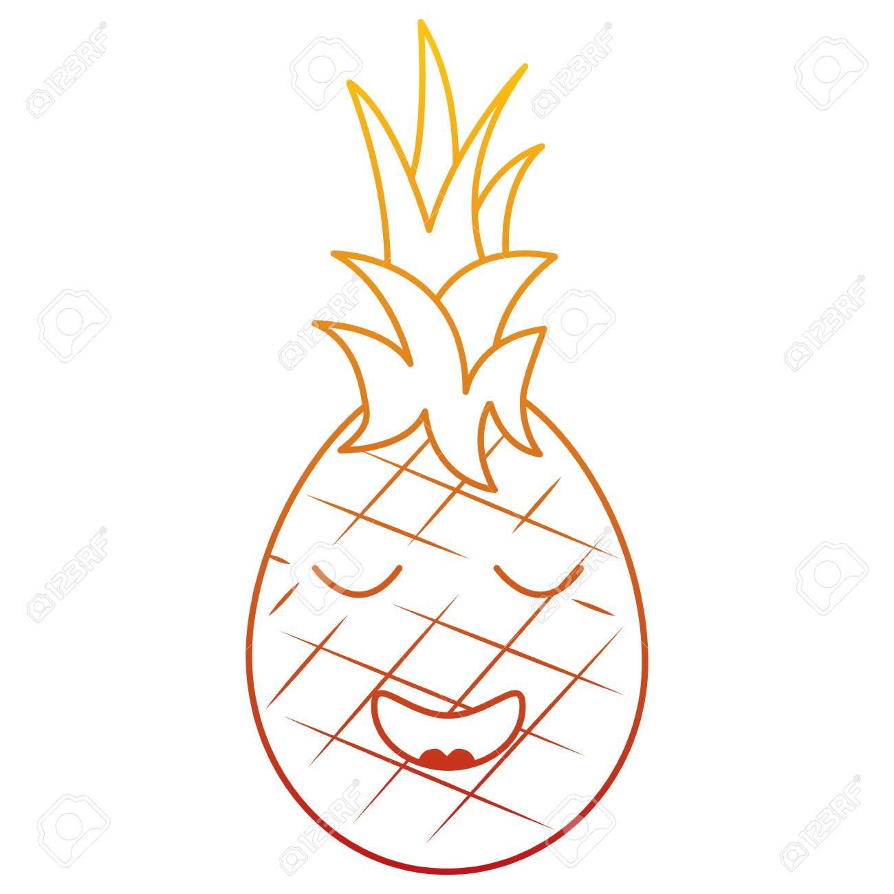 Ilustração Em Vetor Desenhos Animados Kawaii Abacaxi Fruta Expressão Facial