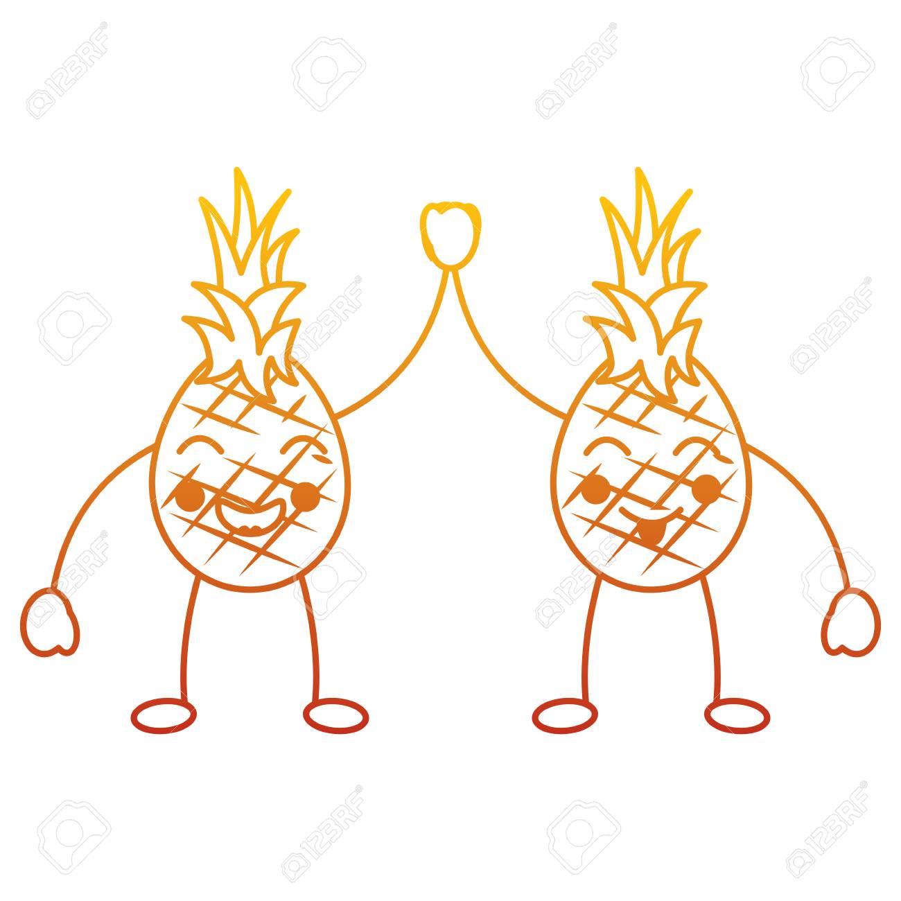 Kawaii Deux Fruits De Dessin Animé Illustration Vectorielle De Personnages Heureux Ananas