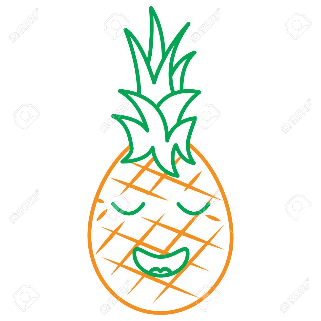 Kawaii Pineapple Fruit Cartoon Line Vector Illustration In Green