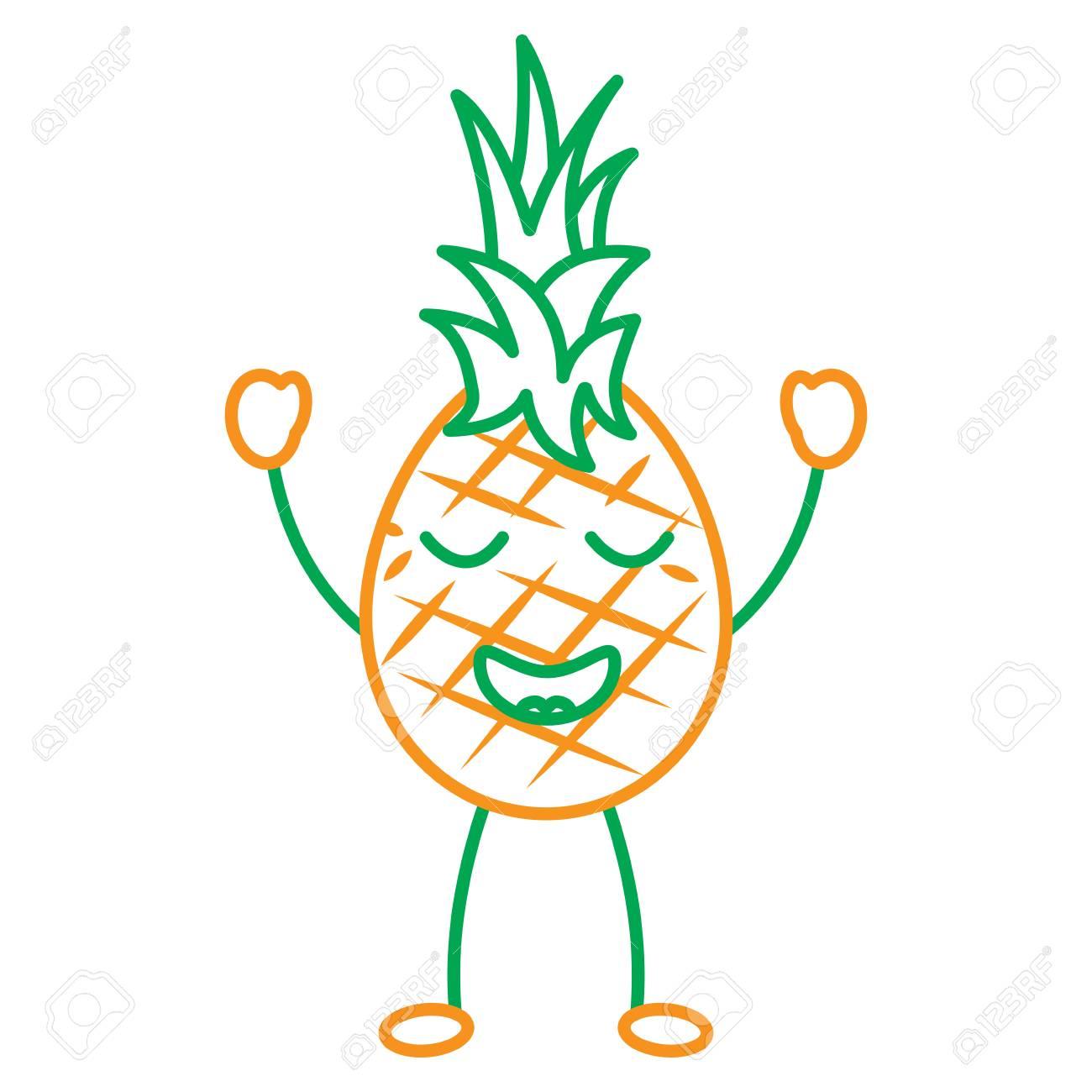 Ananas Kawaii Fruit Dessin Animé Vector Illustration De Ligne En Couleur Verte Et Orange