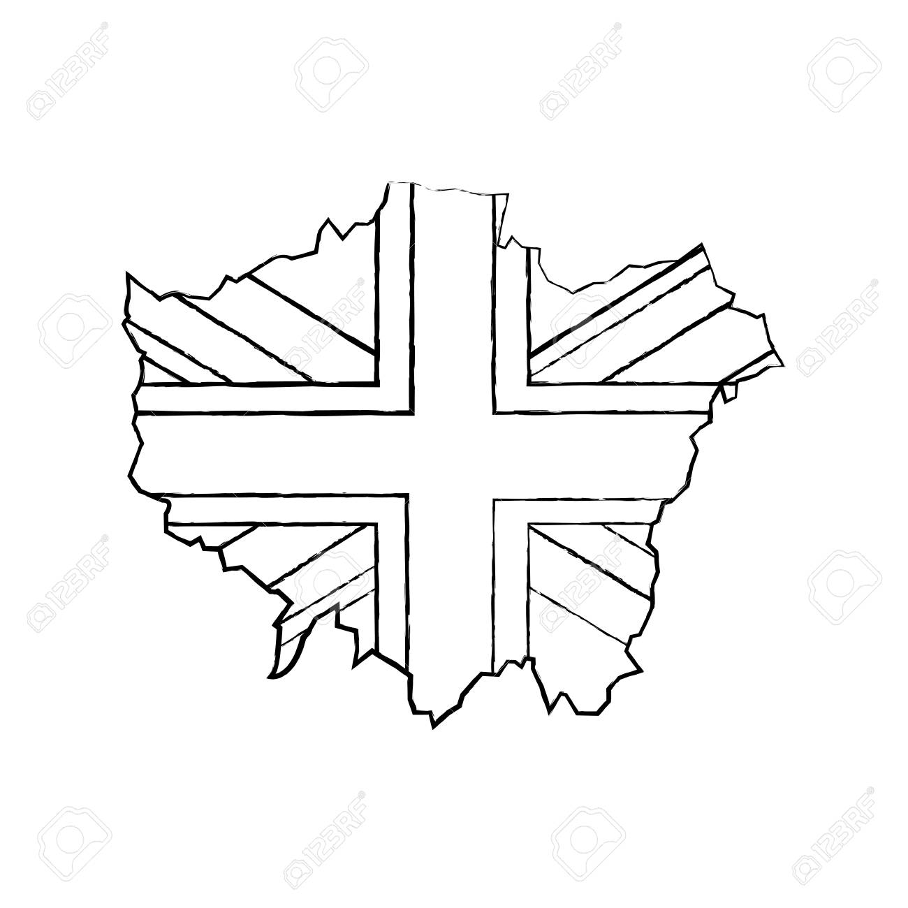 England And London Map.London Map With England Flag Inside Vector Illustration