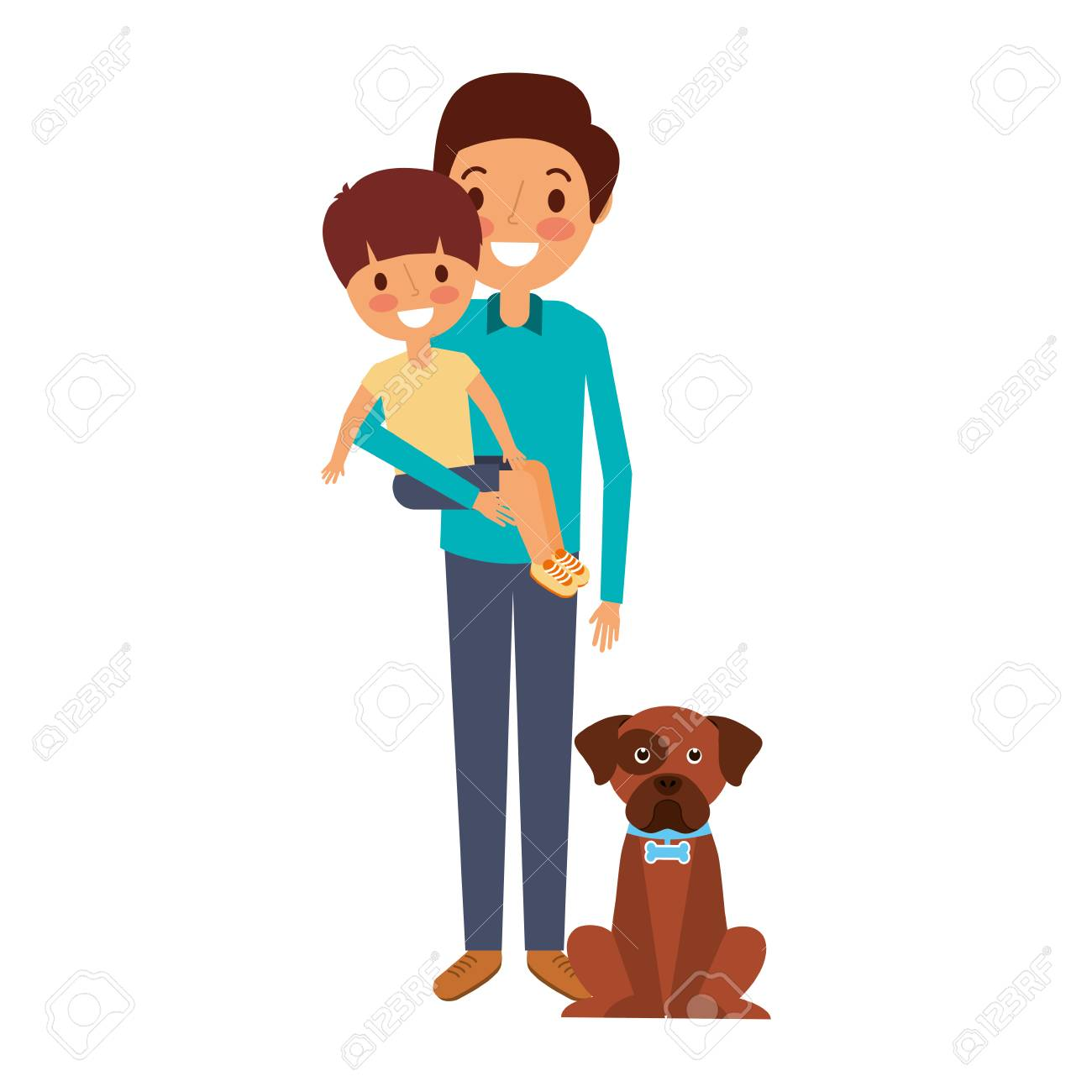 father holding his son with her dog vector illustration royalty free