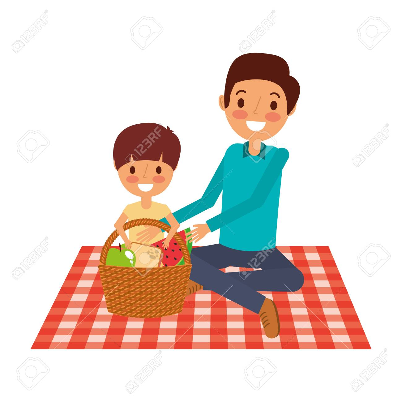 father with his son sitting on blanket with food basket vector illustration - 91218672