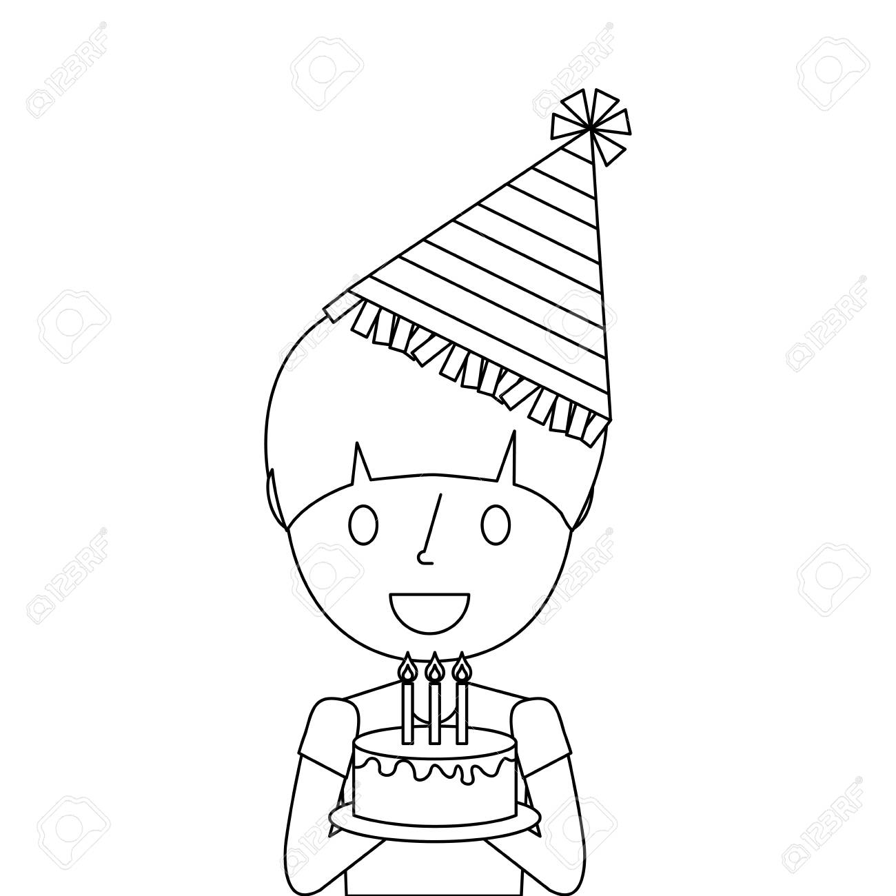 Cute Young Boy Holding Birthday Cake Wearing Party Hat Vector