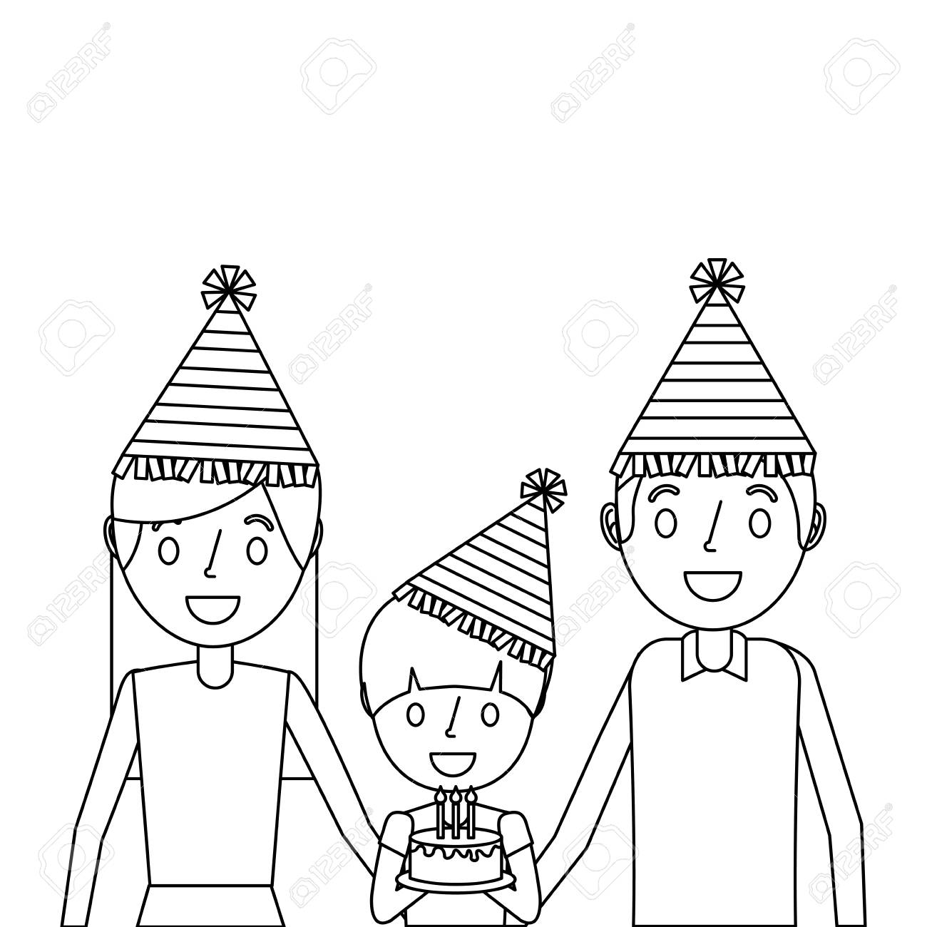 Family Parents And Her Kid With Party Hat Holding Birthday Cake Royalty Free Cliparts Vectors And Stock Illustration Image 91219788