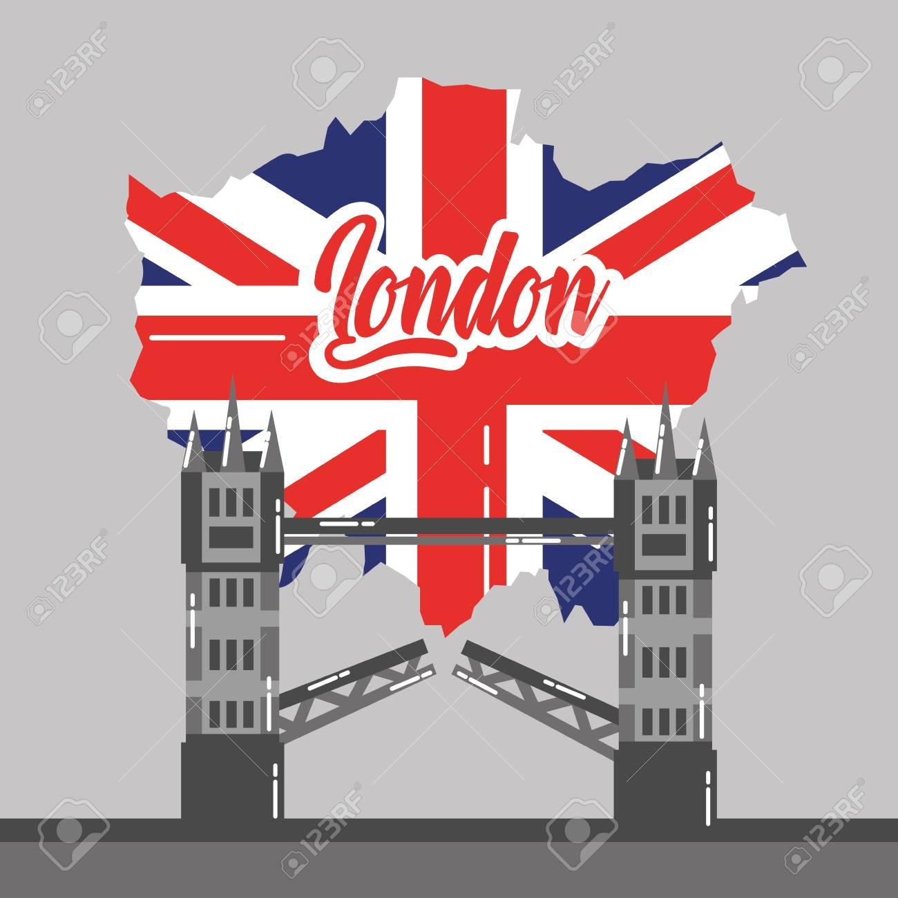 London Bridge Map.London Bridge Building Map Uk Landmark Vector Illustration