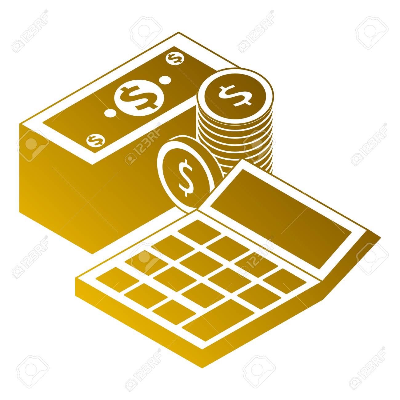 Banque Vectorielle pièces de billets de banque argent jalonné et calculatrice finance