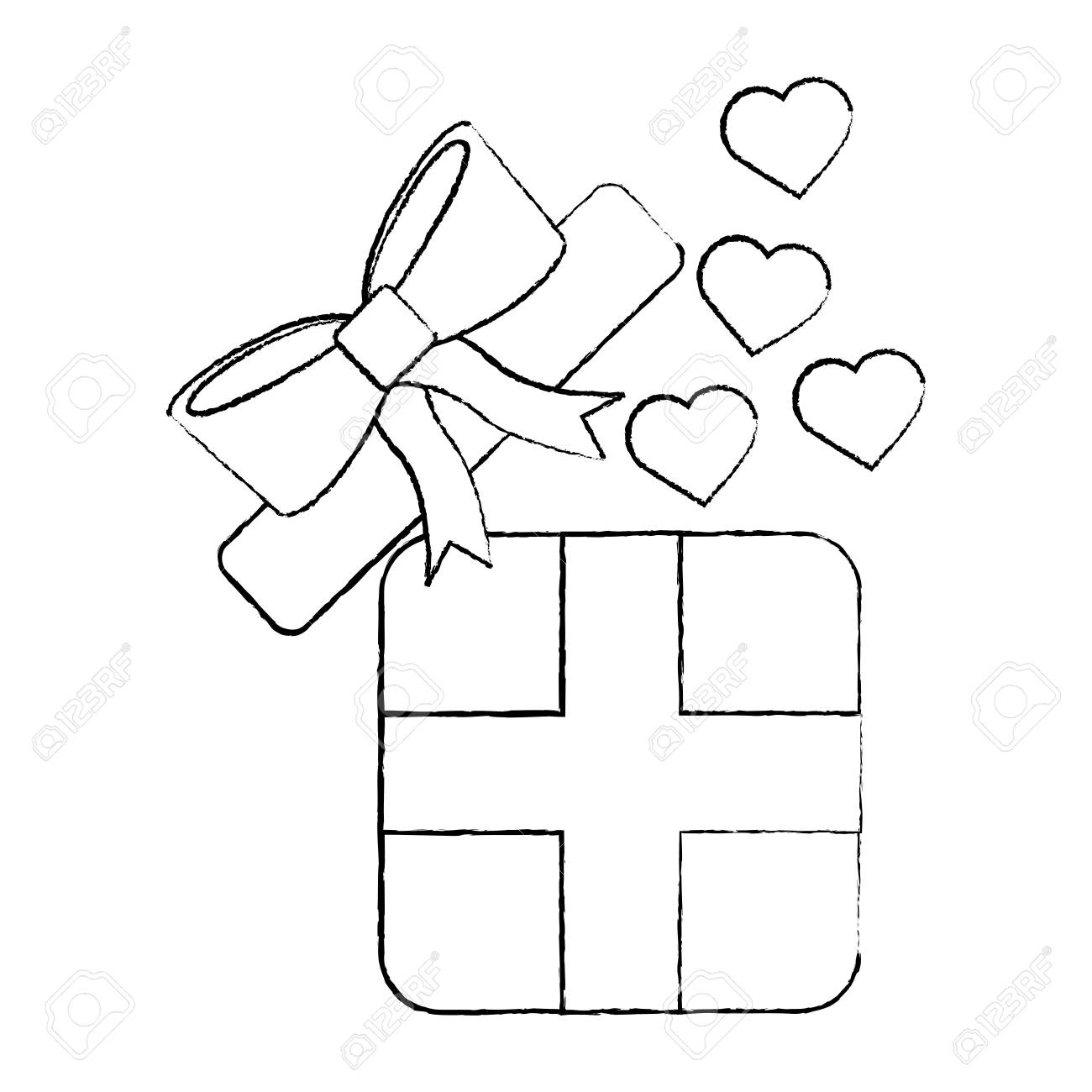 Open Gift Box Coming Out Of Heart Vector Illustration Stock