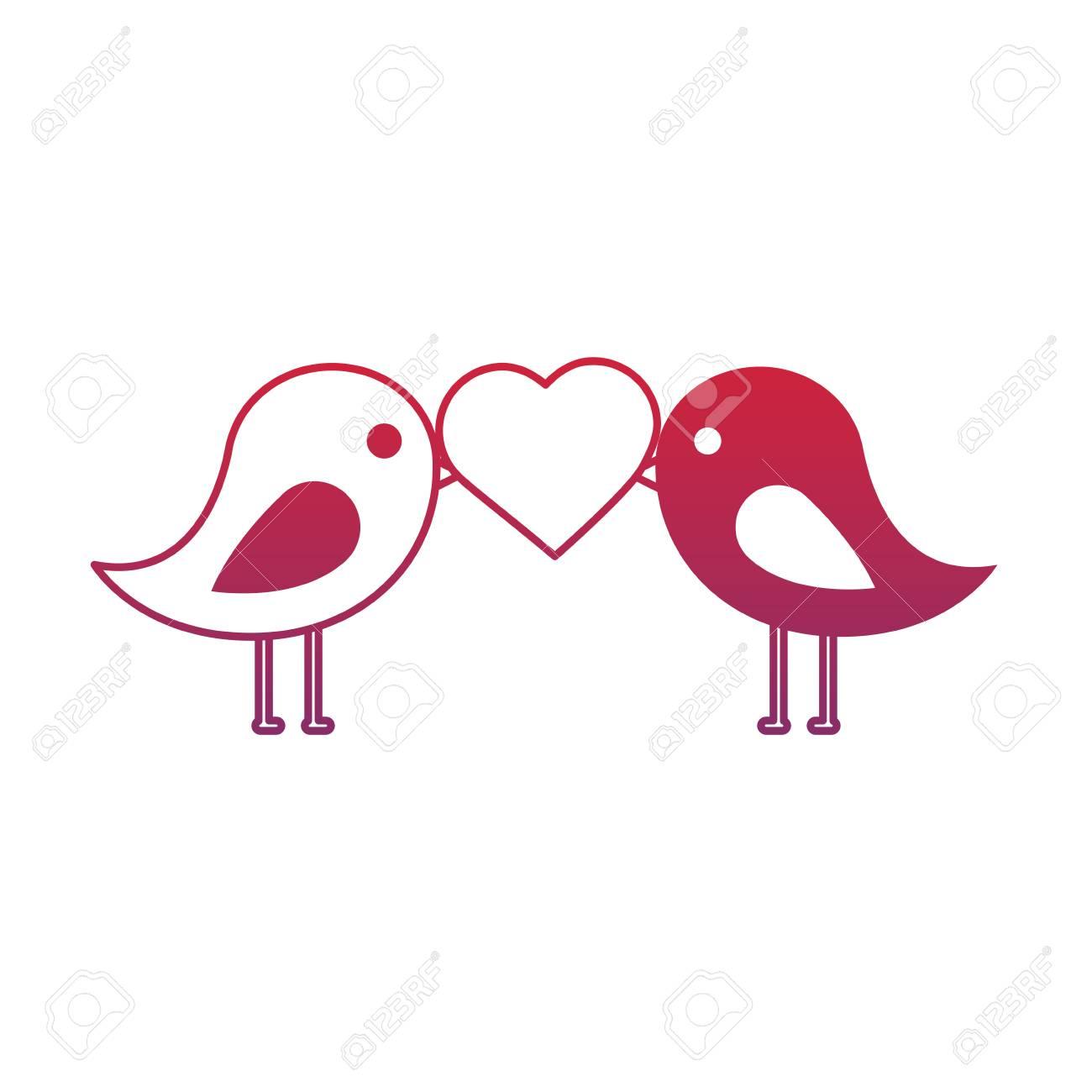 Nette Paare Vogel Herz In Schnabel Valentinstag Vektor Illustration