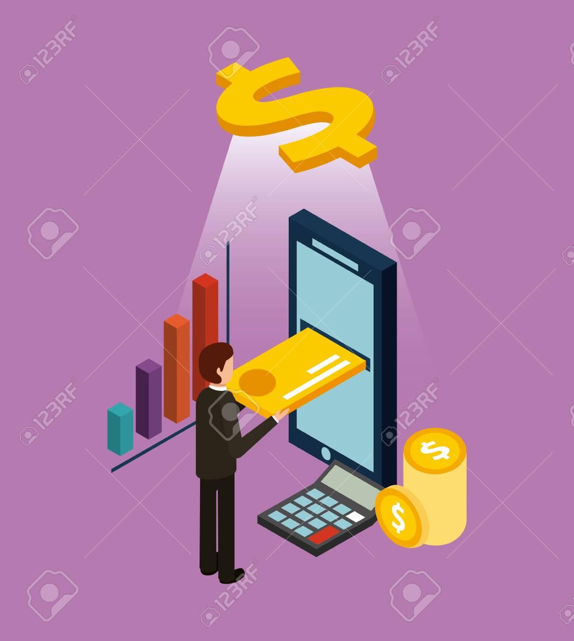 businessman inserting credit card on mobile ecommerce digital isometric vector illustration - 91444279