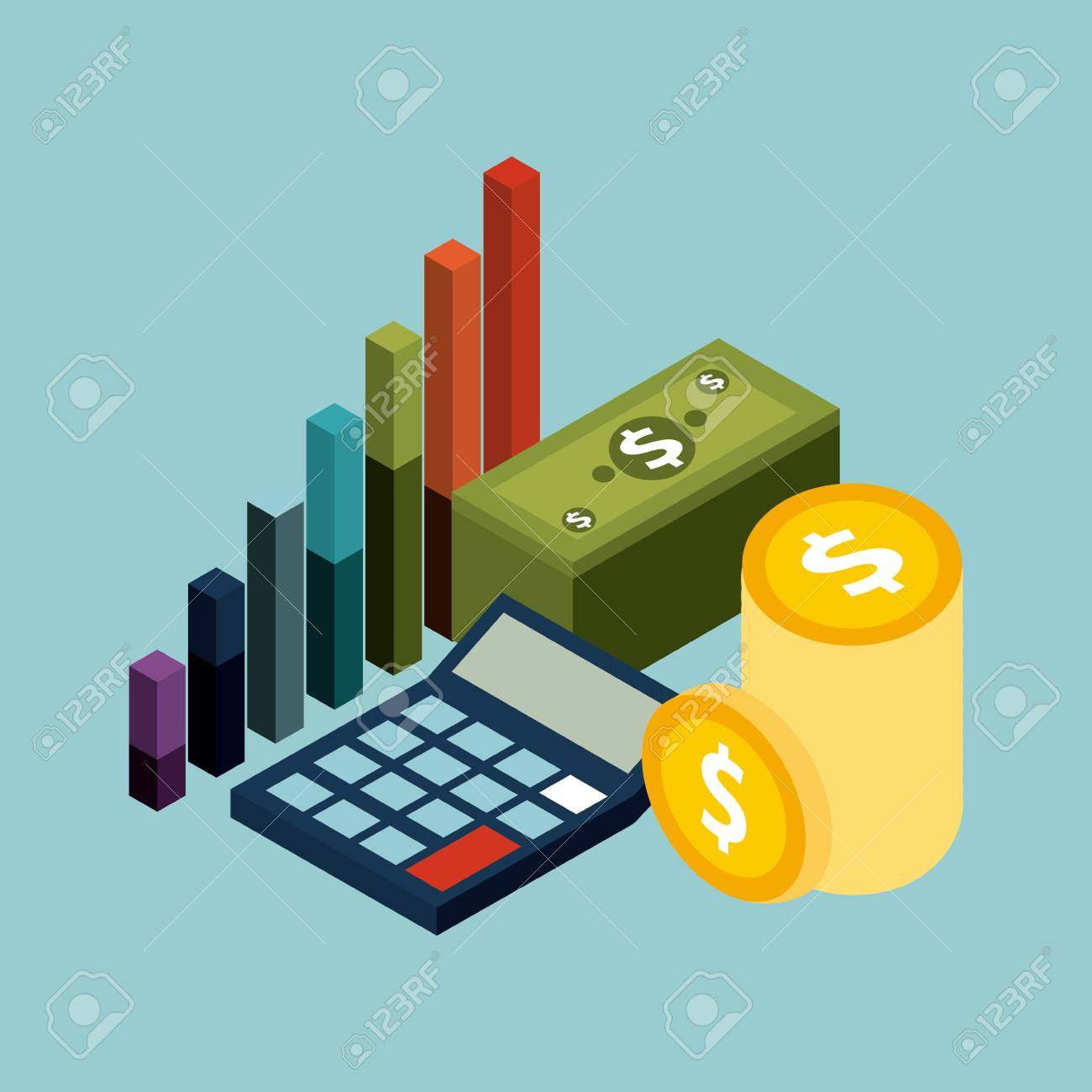 money isometric concept banknote coins calculator and financial graph vector illustration - 91444283