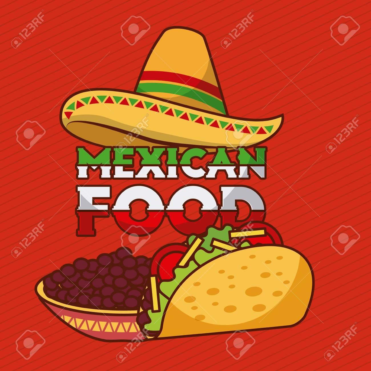 41e2e3ff4001c Foto de archivo - Tacos de comida mexicana y frijoles en un tazón con  ilustración de vector de decoración de sombrero