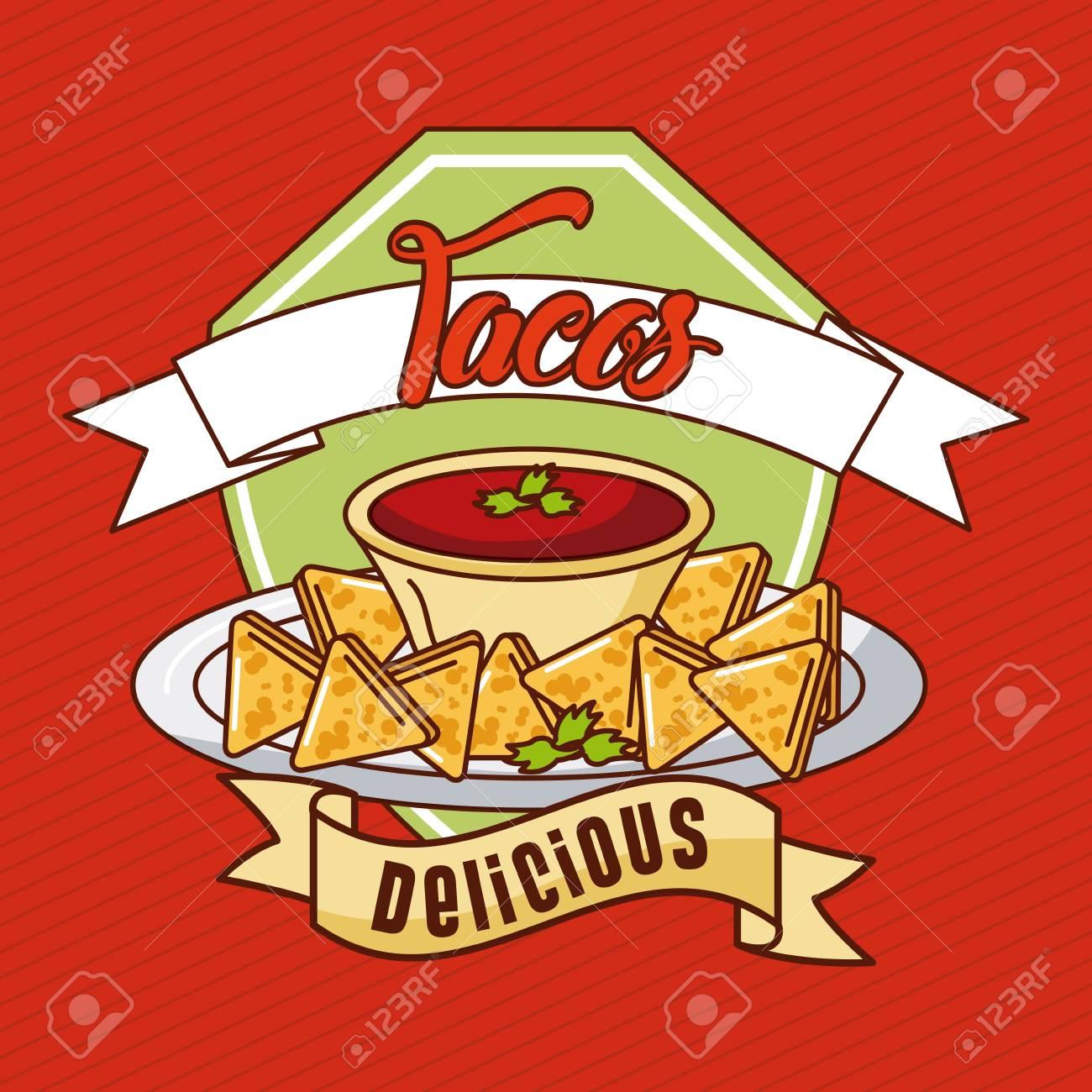 Delicious nachos with guacamole mexican food vector illustration design.