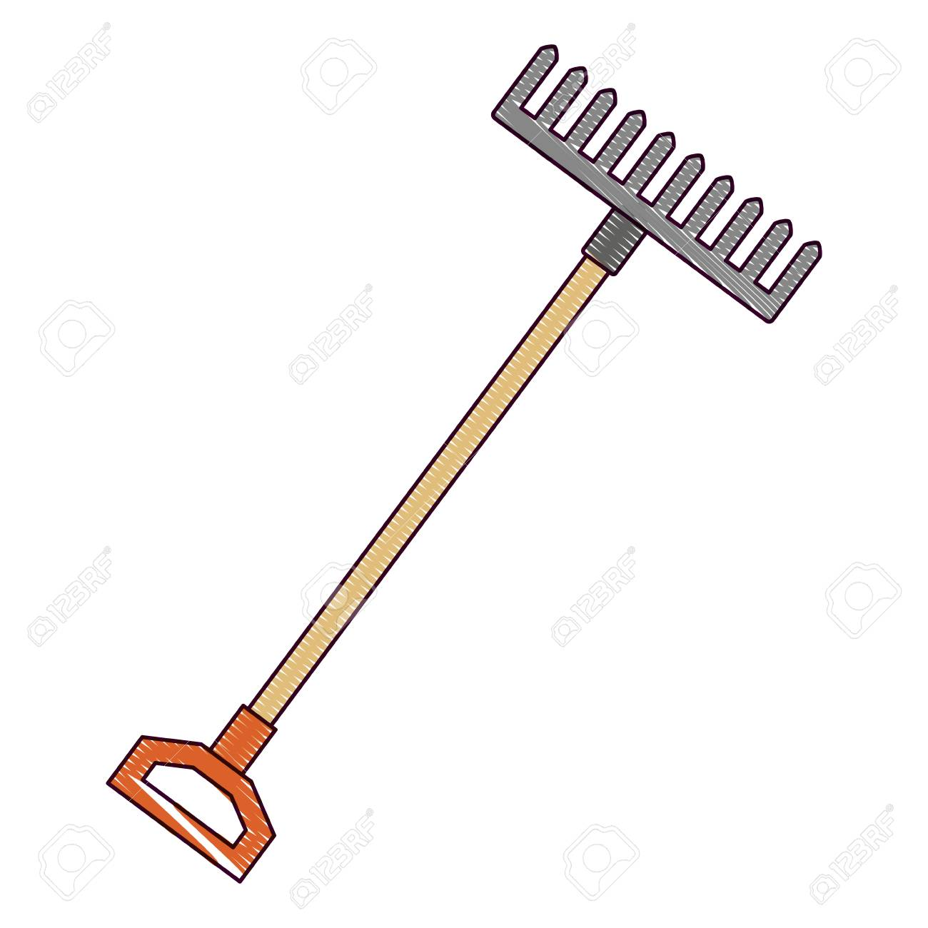 gardening rake isolated icon vector illustration design - 91871100