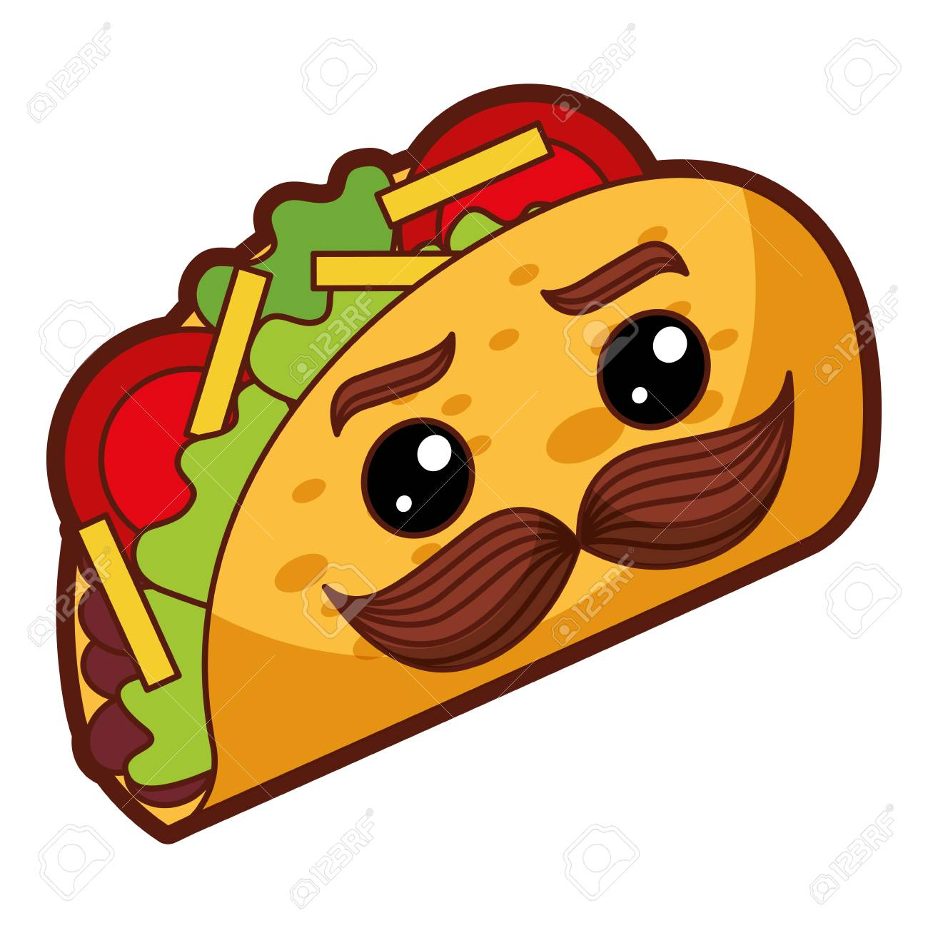 Delicious Mexican Tacos With Mustache Vector Illustration Design Royalty Free Cliparts Vectors And Stock Illustration Image 91905244