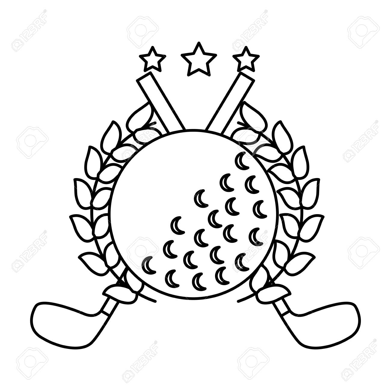 Golf Clubs Cross And Ball With Laurel Stars Decoration Emblem Vector Illustration Stock