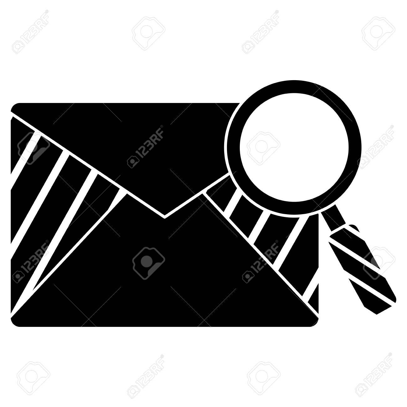虫眼鏡イラスト デザインとメールの封筒。 ロイヤリティフリークリップ