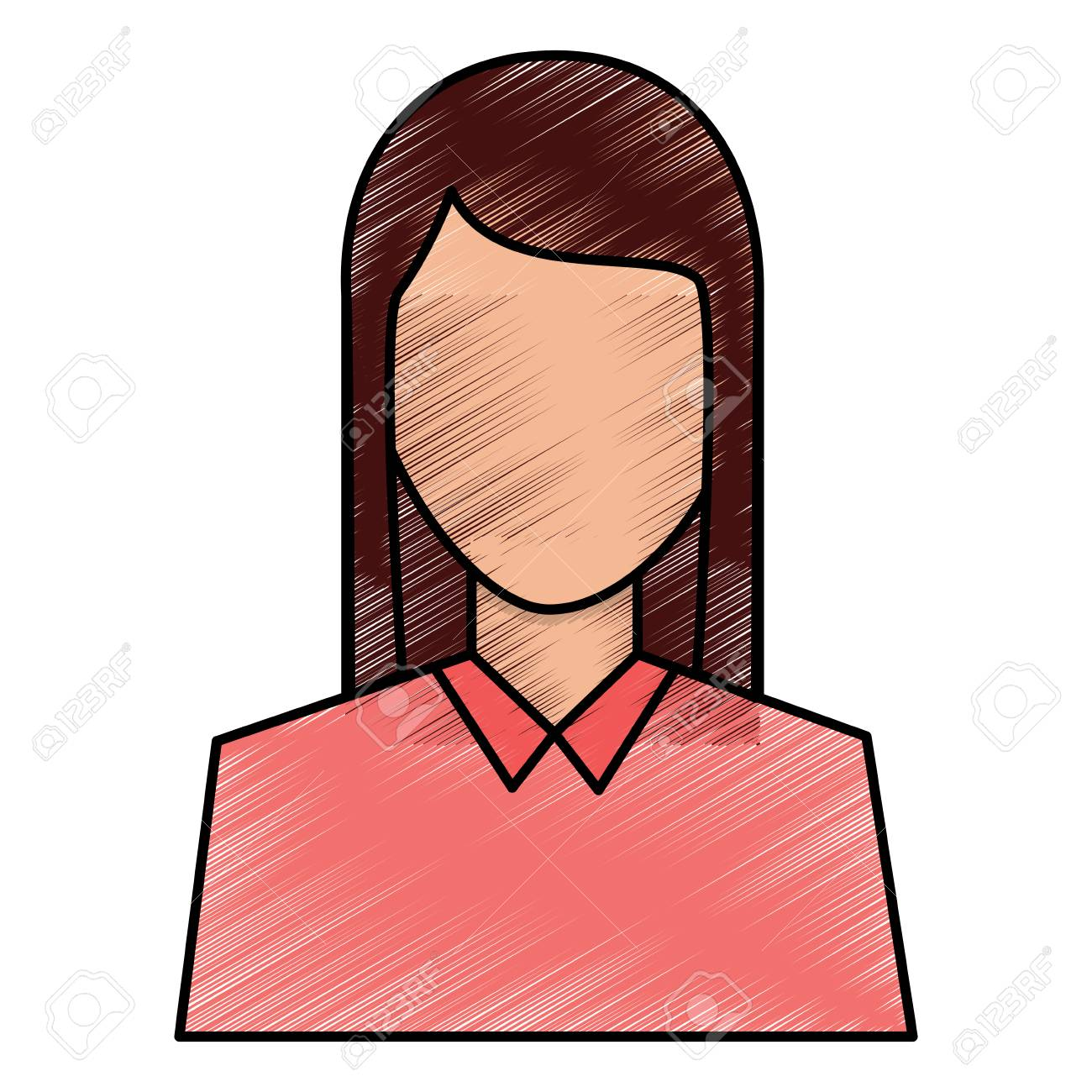 Female Avatar Portrait Character Woman Vector Illustration Drawing