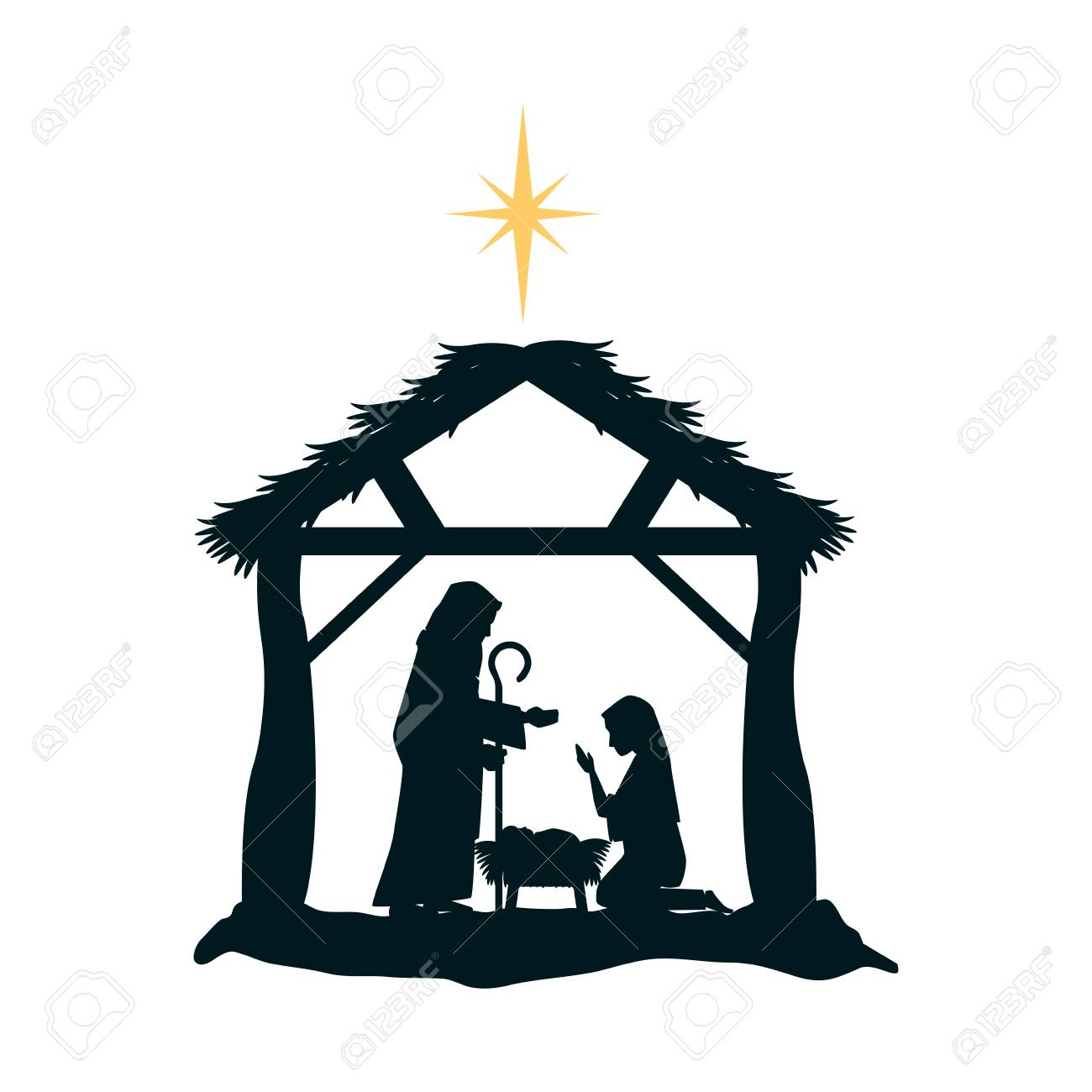 Holy Family Silhouette In Stable Christmas Characters Illustration ...