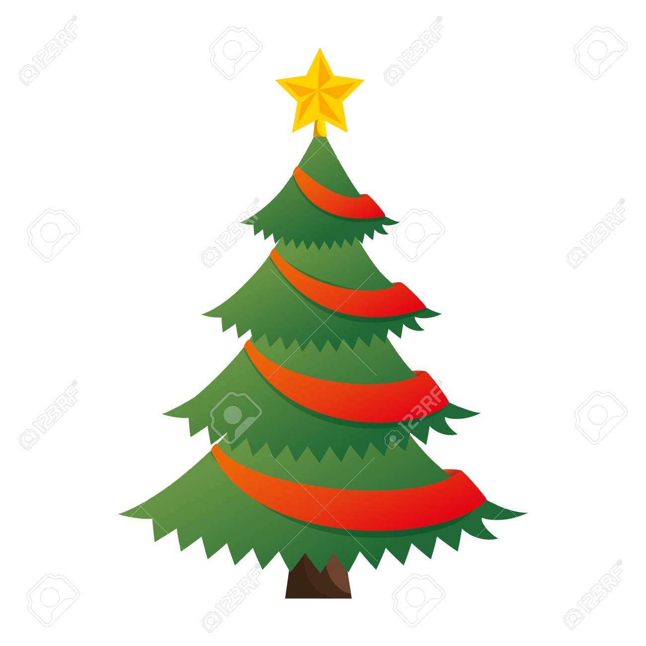 Merry Christmas Tree With Star Illustration Design Royalty Free