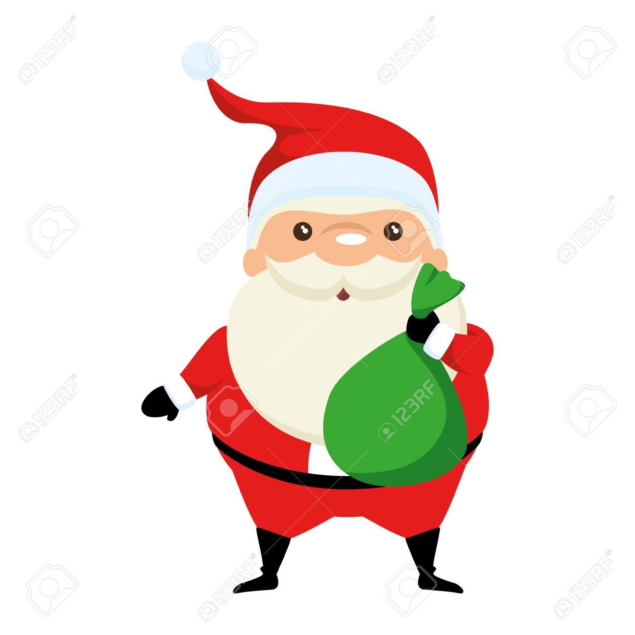 Mignon Père Noël Avec Sac Kawaii Personnage Vector Illustration Design