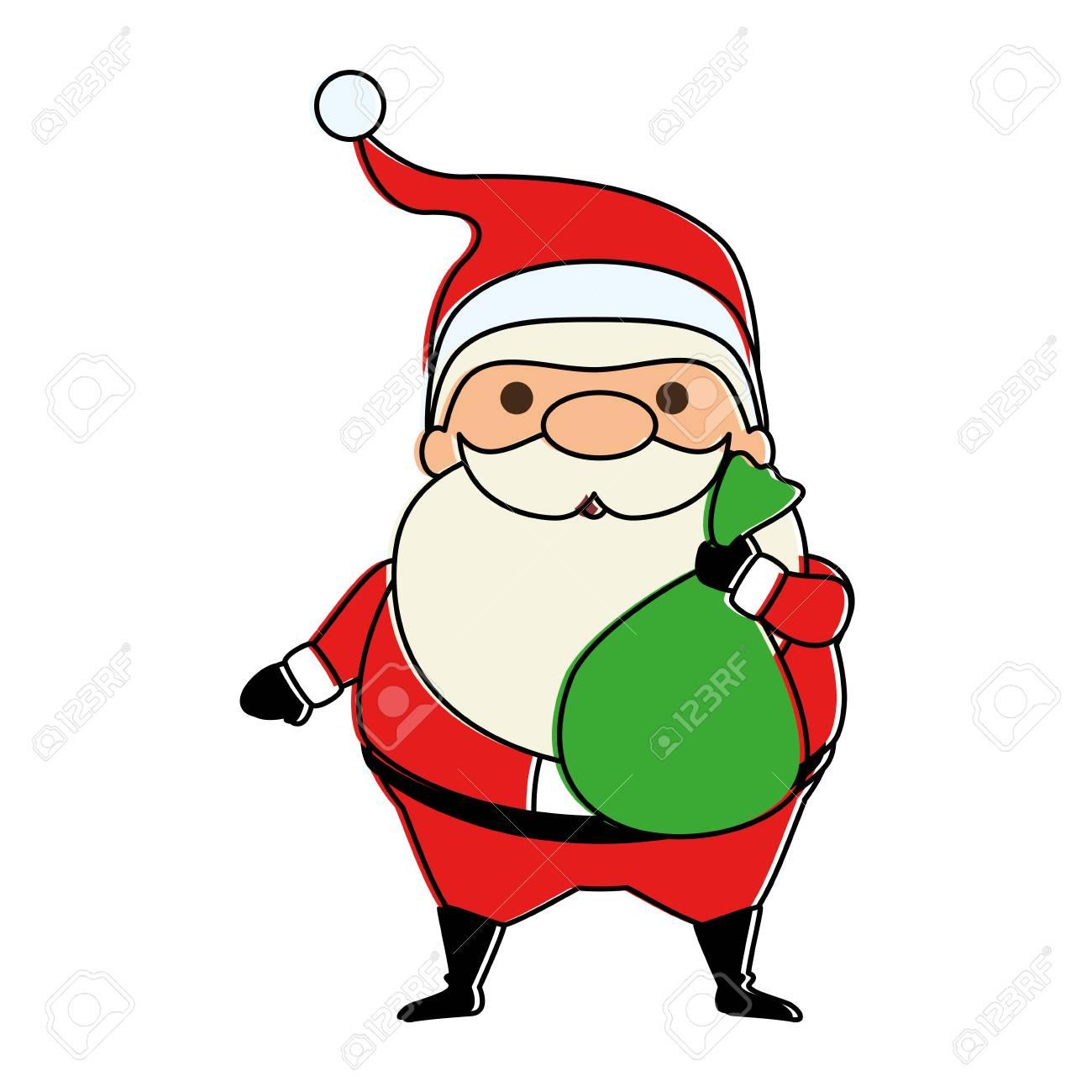Cute Santa Claus With Bag Kawaii Character Vector Illustration Royalty Free Cliparts Vectors And Stock Illustration Image 92262326