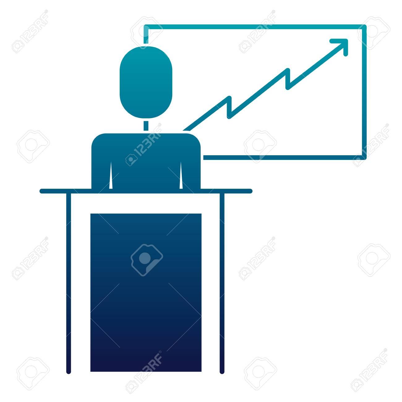 Businessman Podium Presentation Board Diagram Vector Illustration ...