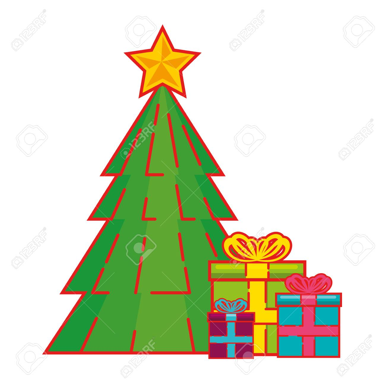 Christmas tree with gifts vector free