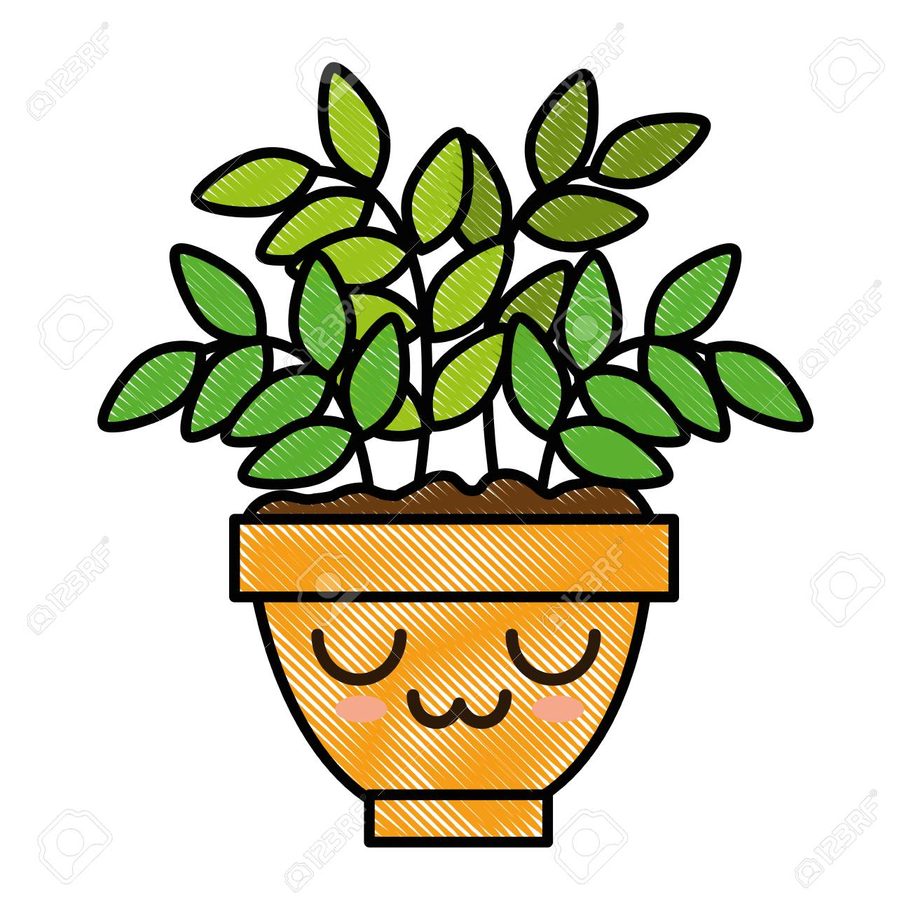 House Plant In Pot Cute Character Illustration Design Royalty Free Cliparts Vectors And Stock Illustration Image 92398796