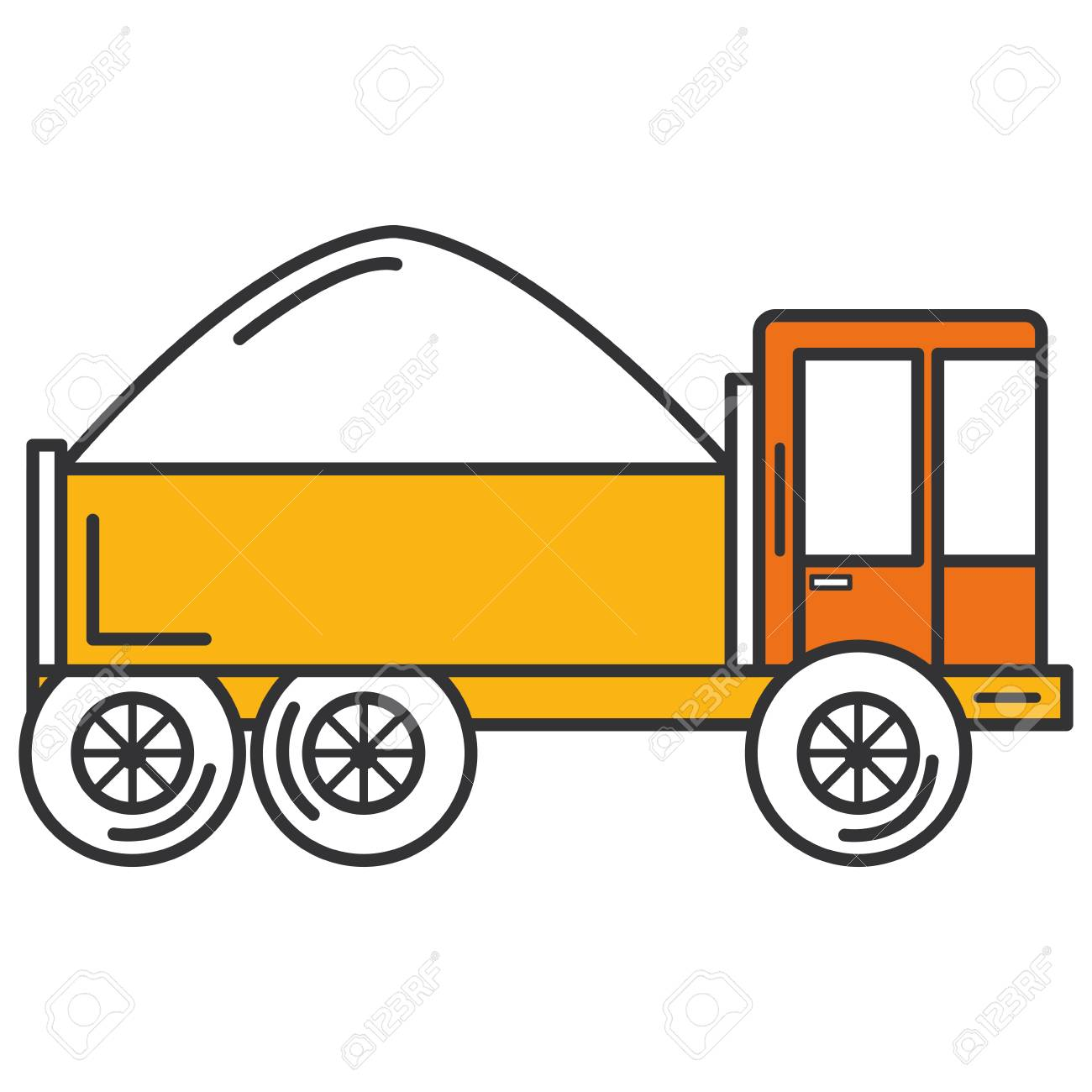 truck dump with concrete vector illustration design