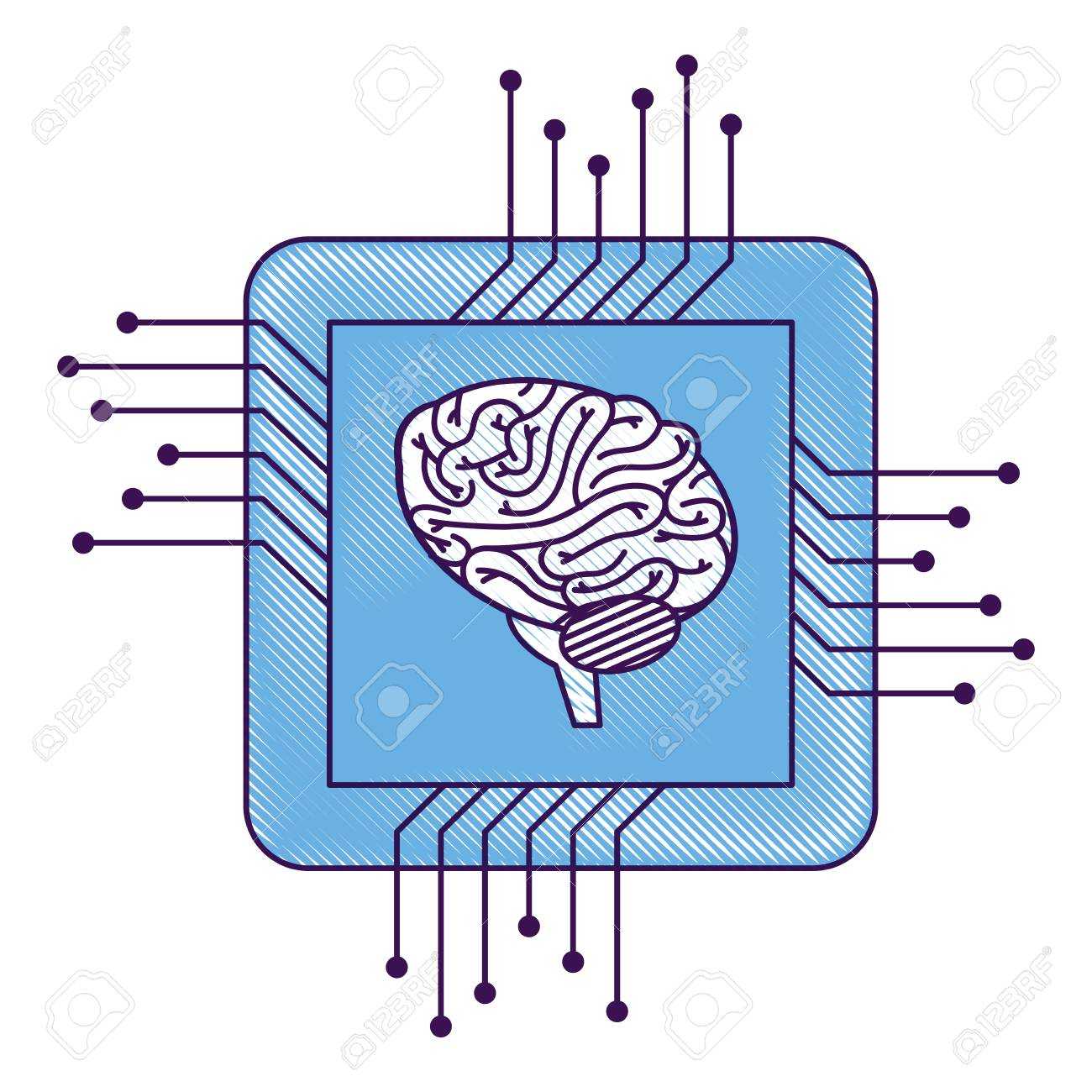 Processor Circuit With Brain Vector Illustration Design Royalty Free Diagram Stock 93117369