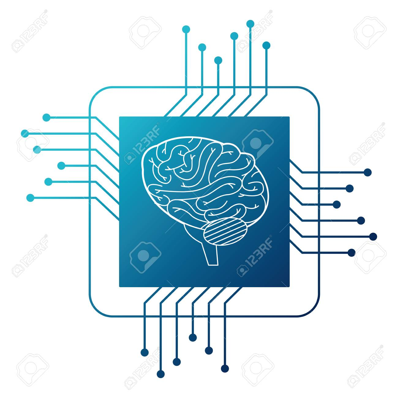 Processor Circuit With Brain Vector Illustration Design Royalty Free Diagram Stock 93119364