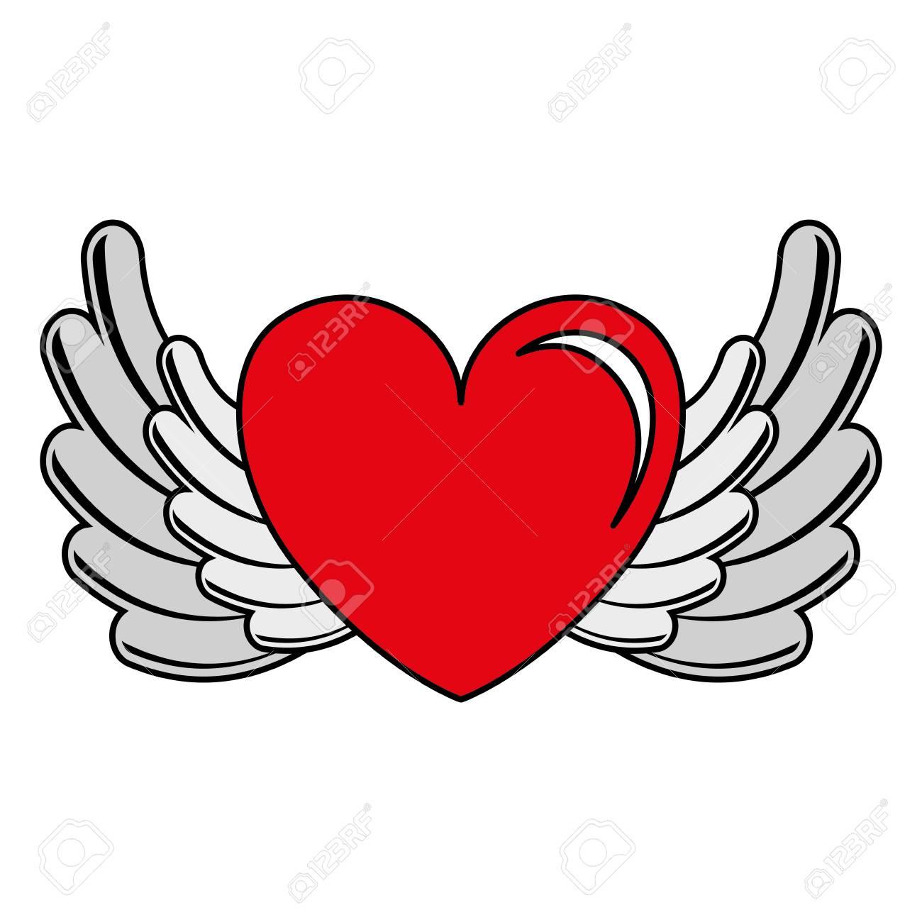 Corazón Amor Con Diseño De Ilustración Vectorial De Alas
